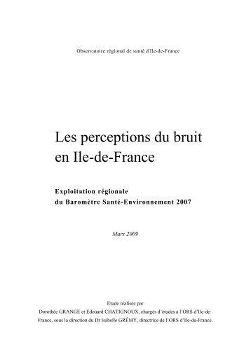 Les perceptions du bruit en Ile-de-France – Observatoire régional ...