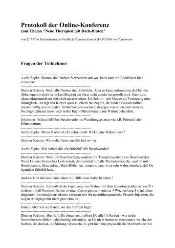 Online-Konferenz vom 23.7.97 Familie & Computer - Neue Therapien