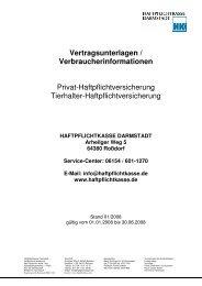 06154 / 601-1270 E-Mail: info@haftpflichtkasse.de ...