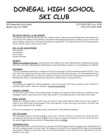 Donegal High School Ski Club 2011-12 Blue Mountain Trip Form