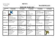 MENUS MATERNELLES MOIS DE MARS 2011