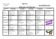 MENUS MATERNELLES MOIS DE JANVIER 2011