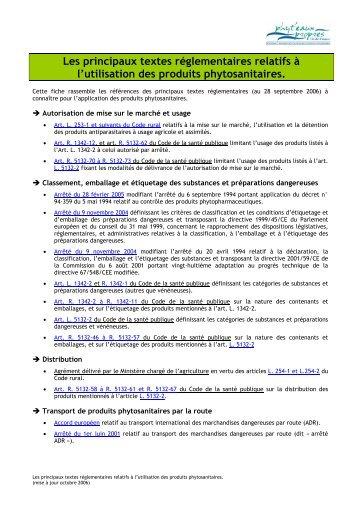 Les principaux textes réglementaires relatifs à l'utilisation des ...