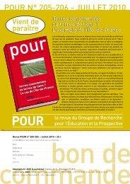 POUR N° 205-206 - JUILLET 2010 - DRIAAF Ile-de-France