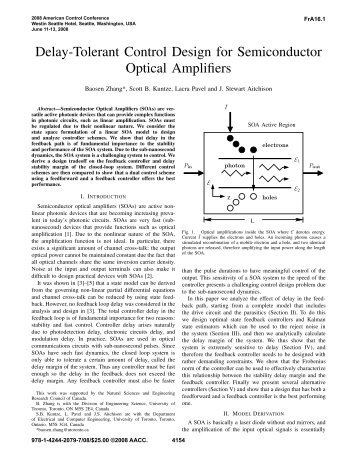 Delay-Tolerant Control Design for Semiconductor Optical Amplifiers