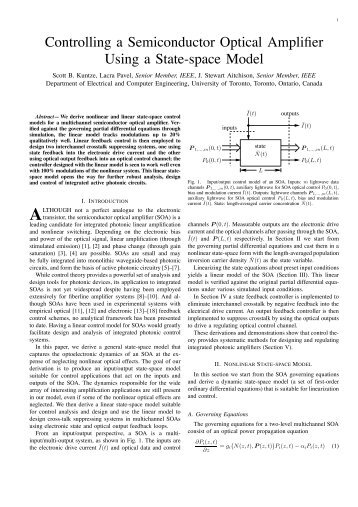 Controlling a Semiconductor Optical Amplifier Using a State-space ...