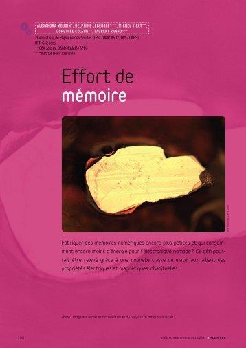 Effort de mémoire - Plein Sud - Université Paris-Sud 11