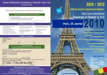 forum international economique et financier de paris 2010 - ESKA