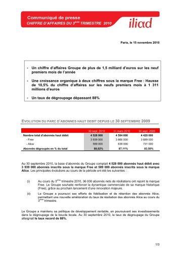 CHIFFRE D'AFFAIRES DU 3ème TRIMESTRE 2010 • Un ... - Iliad