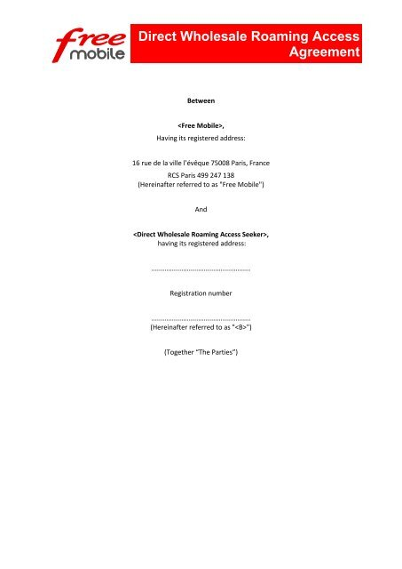 Direct Wholesale Roaming Access Agreement Iliad