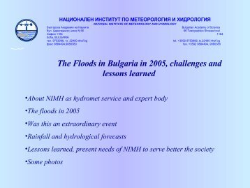 The Floods in Bulgaria in 2005, challenges and lessons learned