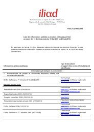 Liste des informations publiées ou rendues publiques au ... - Iliad