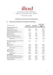 Rapport d'activité S1 2007 - Iliad