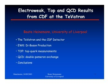 Top, Electroweak and QCD Physics at the Tevatron - Www Atlas Lbl