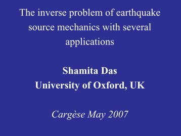 The inverse problem of earthquake source mechanics with several ...