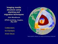 Imaging mantle structure using stacking and migration techniques