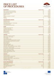PRICE LIST OF PROCEDURES - Tree Of Life
