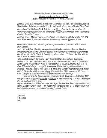 Obituary of A Branch of the Binns Family in Dublin Binns a Very ...