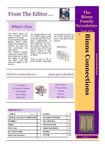 newsletter spring.2006 - The Binns Family