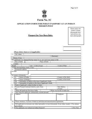 Passport Form Embassy Of India Paramaribo Suriname