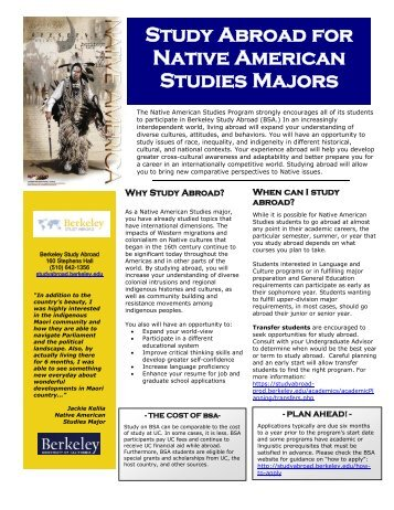 Study Abroad for Native American Studies Majors (PDF)