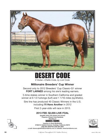 DESERT CODE - California Thoroughbred Breeders Association