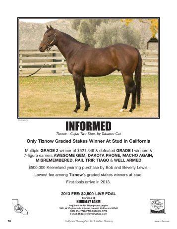 INFORMED - California Thoroughbred Breeders Association