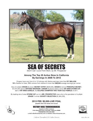 SEA OF SECRETS - California Thoroughbred Breeders Association