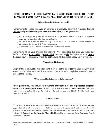 Financial Affidavit Florida Long Form The Florida Family Law ...