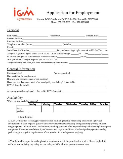 IGM Job Application - IGM Gymnastics