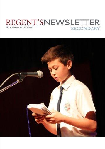 Secondary Newsletter 27thSeptember 2013 - Regents School