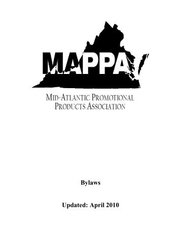 MAPPA Bylaws - Virginia Promotional Products Association