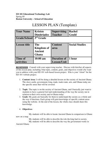LESSON PLAN Template ED Boston University - University lesson plan template