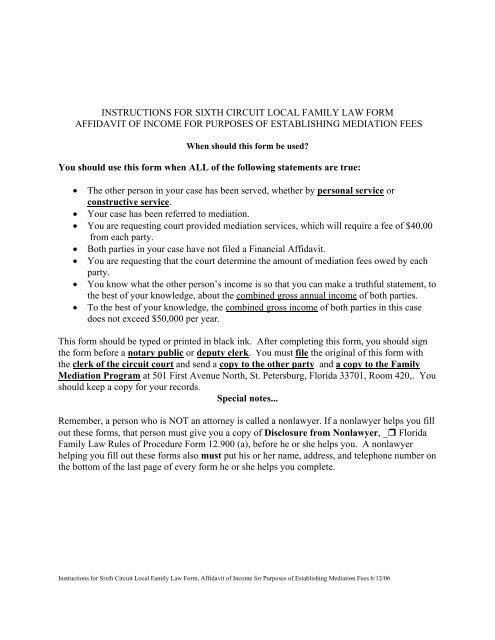 6th circuit florida divorce mediation