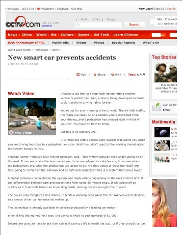 New smart car prevents accidents - Mobileye