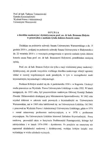 Prof. dr hab. Tadeusz Tomaszewski Katedra Kryminalistyki Wydział ...