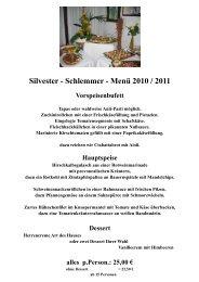 Silvester - Schlemmer - Menü 2010 / 2011 - Partyservice