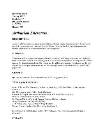 Arthurian Literature - Arthuriana