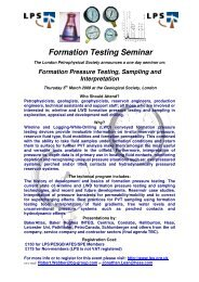 Formation Testing Seminar - London Petrophysical Society