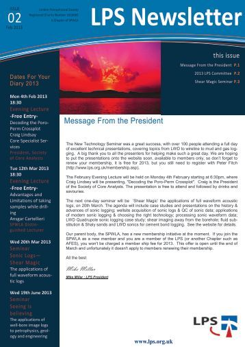 Download February 2013 Newsletter - London Petrophysical Society
