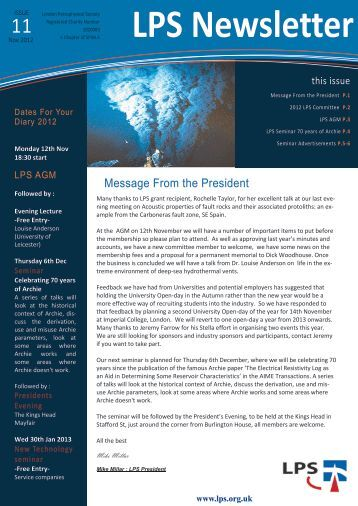 Download November 2012 Newsletter - London Petrophysical Society