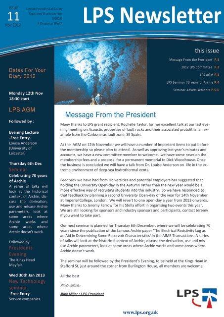Download November 2012 Newsletter - London Petrophysical Society