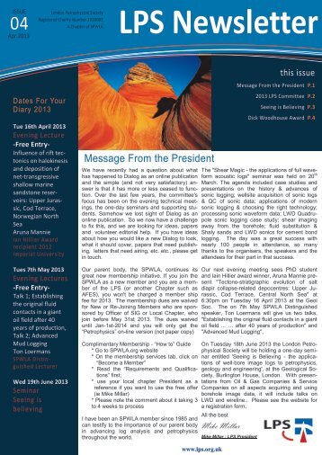 LPS Newsletter - London Petrophysical Society