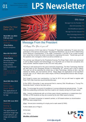 Download January 2013 Newsletter - London Petrophysical Society