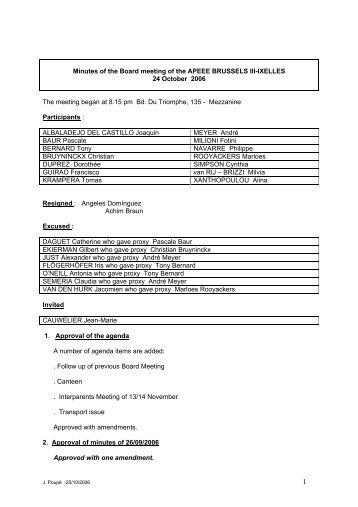 projet de compte rendu de la reunion du conseil d ... - bruxelles iii