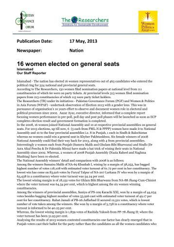 16 women elected on general seats (Nation 17-5 ... - theresearchers