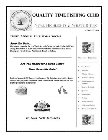 August 2006 Newsletter - Quality Time Fishing Club