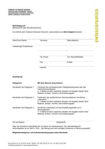 Beitrittsgesuch (Blockschrift oder Schreibmaschine ... - Swissceramics