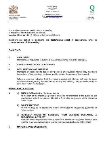 AGENDA - Matlock Town Council