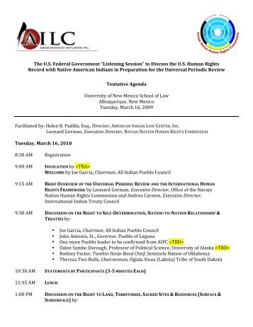 Tentative Agenda University of New Mexico School of Law Albuquerqu